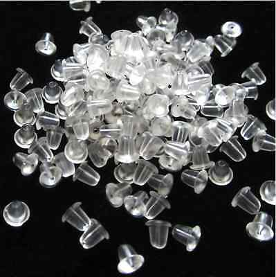 500Pcs Flower Clear Cone Plum Rubber Earring Backs Stoppers Ear Post Nuts 4/6 mm