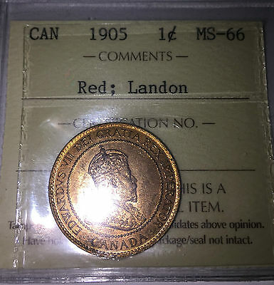 1905 CANADA PENNY ICCS MS66 RED LANDON PEDIGREE **Only 1 Other higher**