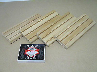 Wooden Playing Card Holders - 3 Row - Set of 4 with Canasta Pack