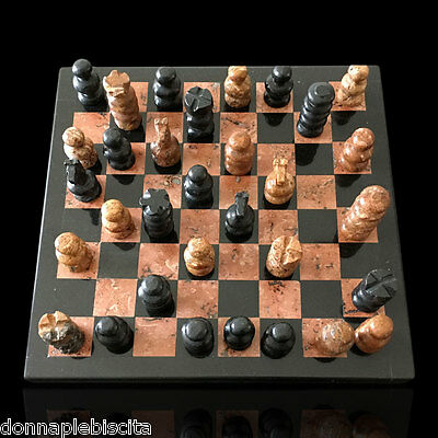 Scacchiera + Scacchi Intarsi Marmo Marble Inlays Chessboard Chess 20x20cm