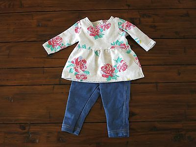 Carters 2 Piece Grey/Floral Long Sleeve Tunic & Jeggings size 3 months Baby Girl