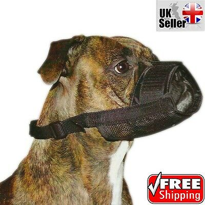 Nylon Adjustable Dog Safety Muzzle Muzzel Mouth Mask Biting Barking Chew Black