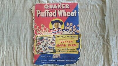 Vintage Quaker Puffed Wheat Model Farm Cut Outs Cereal Box Panel