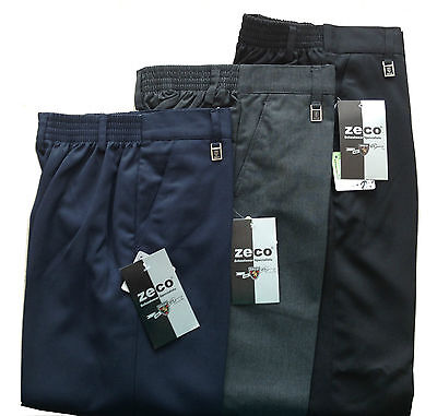 BOYS SCHOOL TROUSERS, Standard Fit, Half Elasticated Waist, Teflon Coated 3-16YR