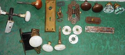 Antique Door Hardware Brass Glass Porcelain Knobs Locks Plates Key Eastlake
