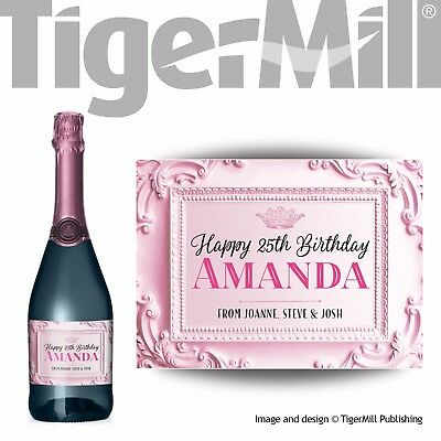 PERSONALISED baby pink Champagne label Valentine Birthday Newborn Wedding gift