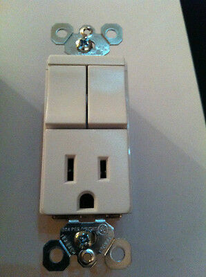 P&S Decorator Combo (2) Single Pole Switch 15A Outlet White TM8118-WCC Decora