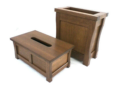 Duo wooden trash can and tissue box holder. Mission style. Red oak. NEW! CQ-2-34