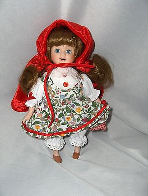 "Vintage Porcelain Miniature 8"" Doll Little Red Riding Hood Long Curls  NICE"