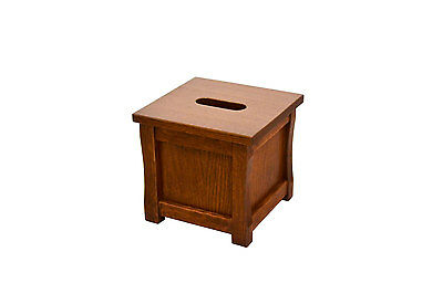 """Wooden tissue box """"cube"""" holder. Mission style. Oak. NEW! TE-823"""