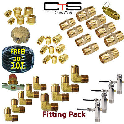 "(40pc) 3/8"" Air Bag Suspension Fittings Kit + FREE! 20' 3/8"" D.O.T. Airline Hose"