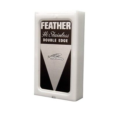 5 Razor Blades Feather HI Stainless Double Edge Pack Safety Men's Shaving Shaver