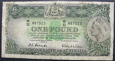 1953 Coombs / Wilson  £1, pound R-33. Australian note, HB32 887523