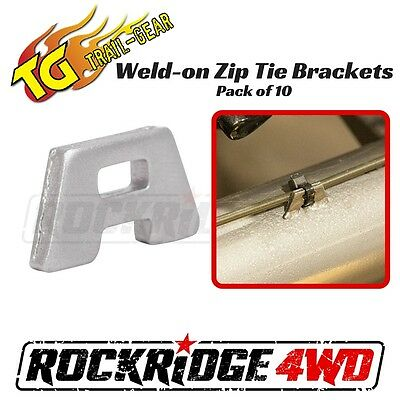 "Trail Gear Weld-on Zip Tie Brackets Flat 10 pack 1/8"" SAE 1008 Steel for zip tie"