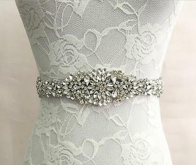 Crystal Wedding Dress Sash Handmade Rhinestone Bridal Waist Belt Satin Ribbon