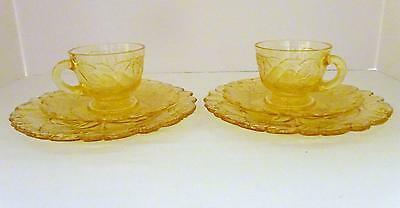 Vintage INDIANA GLASS Clear Yellow Sweet Pear Set of 2 Cups, Saucers & Plates