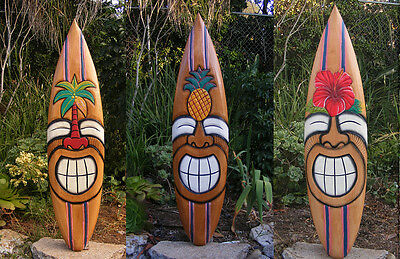 "Tiki Surfboard Mask Package Deal Wood Patio Tropical Bar 40""  Set of 3"