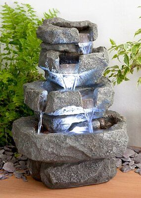 4 Tier Water Feature Waterfall Patio Fountain Garden LED Stone Look Decoration