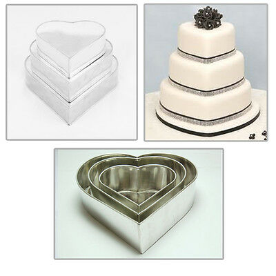 "3 TIER valentine's HEART WEDDING CAKE TINS  8"" 10"" 12"""