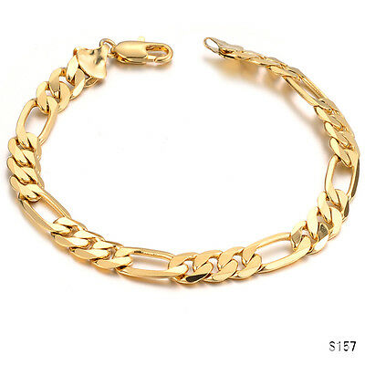 Fashion Men's Curb Chain Gold Plated Link Bracelet Gift