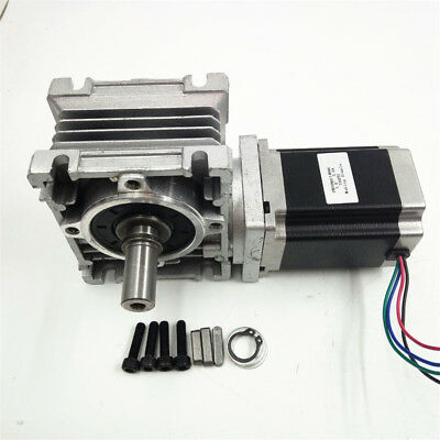 NMRV030 NEMA23 Worm Gear Stepper Motor Speed Reducer Ratio 10:1 L112mm CNC