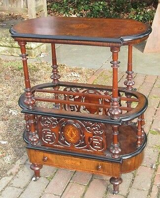 Fine Inlaid Antique English Canterbury Table
