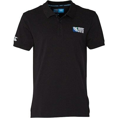RUGBY 2015 WORLD CUP Canterbury Mens No.8 Plain Polo Shirt Black Size X/L