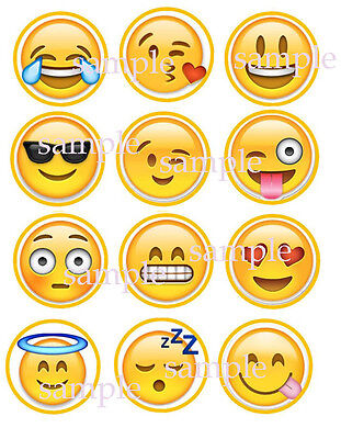 12 Assorted Emoji Edible CUPCAKE Toppers ICING Image FREE SHIPPING