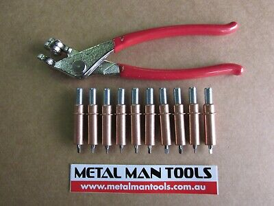 "CLECOS, SET 10 X 1/8"" and PLIERS, SKIN PINS, PANEL BEATING, HOTROD, CUSTOM"