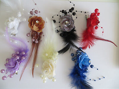 1 Bridesmaids,Flower Feather Bead Corsage Hair Clips Fascinator Hairband and Pin