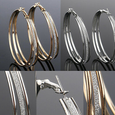 Night Club Accessories Big Circles Hoop Earrings Scrub Gold/Silver Women's Gifts