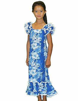 Girl's Royal Blue Hawaiian Print Muu'Muu Dress/Haku Laape