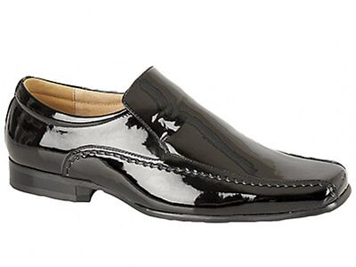 Shuperb MONZESE Mens Patent Faux Leather Formal Fancy Dress Shiny Loafers Red