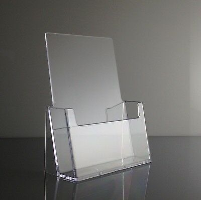 "Clear Acrylic 6"" Wide Half Page Brochure Holder Display Stands - Lot of 6"