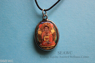 Ceramic The MEDICINE BUDDHA Necklace Pewter Healing