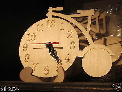 3 x Plain wooden Bicycle unpainted untreated clock on bracket craft decoupage