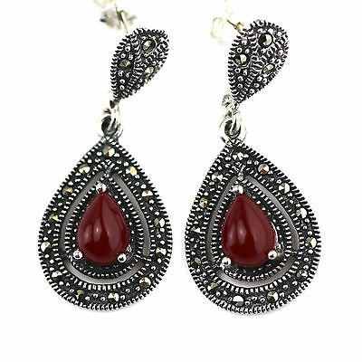 Art Deco Style Red Agate Swiss Marcasite Earrings 925 Sterling Silver