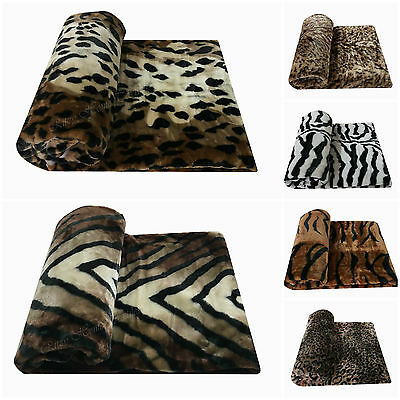 Faux fur fleece blanket mink animal throws sofa bed double king soft warm large