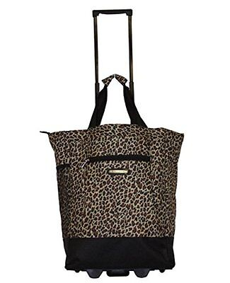 """20"""" Brown leopard print Wheeled Rolling Shopping Tote Bag w/ Retractable Handle"""