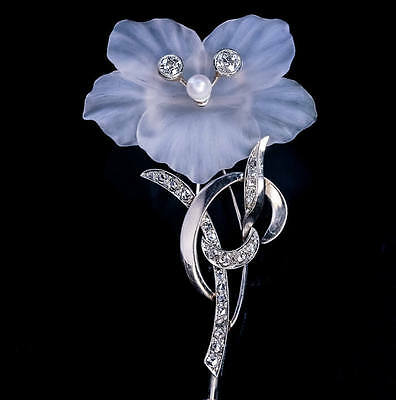 Carved Rock Crystal Diamond Pearl White Gold Brooch