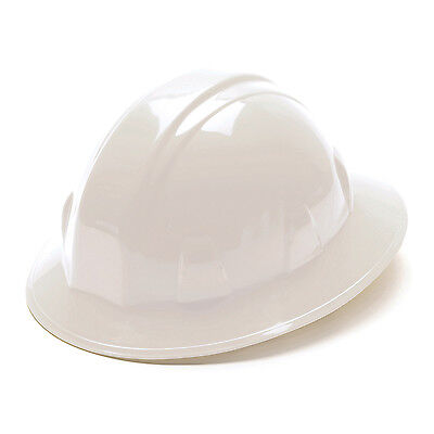 Pyramex Hard Hat White FULL BRIM With 4 Point Ratchet Suspension, HP24110