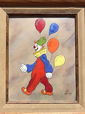 Small Vintage French Art Clown Enamel Painting Copper Signed Jean Lucey Decor