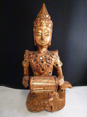 Old vintage figural wood carving musician wooden figure wall hanging SIAM 12 1/8