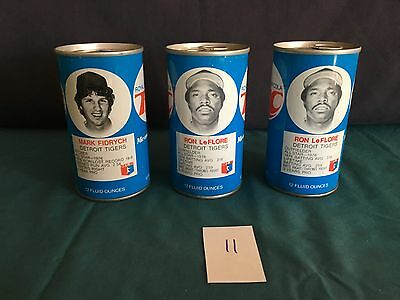1977 RC Cola Detroit Tigers Lot Of 3 Cans Ron LeFlore Mark Fidrych