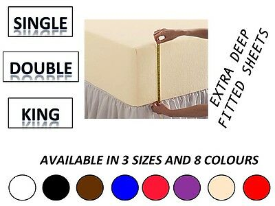 "Egyptian Cotton Percale Extra Deep 16"" Fitted Sheets SUPER KING And Pillow"