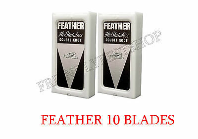 10 Blades 2 Pack Feather Hi Stainless Double Edge Safety Razor Blades Japan