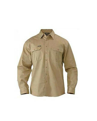 BISLEY WORKWEAR - KHAKI Cotton Drill Work Shirt Safety Long Sleeve BS6433
