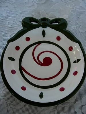 Beautiful PRINCESS HOUSE Dark Red and Green Ceramic Holiday Soap Dish