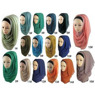 Women Islamic Chiffon Plain Soft Basic Solid Headscarf Shawl Scarf Hijab Wrap