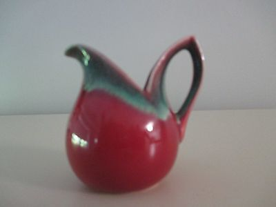 Vintage Petite Miniature Pitcher Zuid-Holland Gouda Red Green Glazed Art Deco